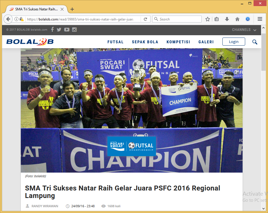 SMA Tri Sukses Natar Raih Gelar Juara PSFC 2016 Regional Lampung